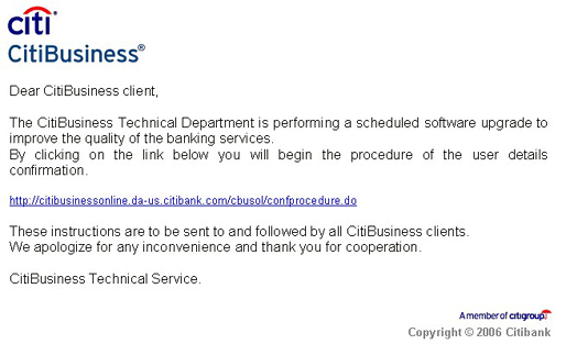 Citibank Phishing Email
