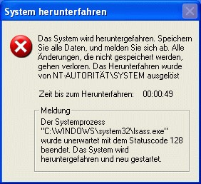 Microsoft Windows: Sasser-Infektion